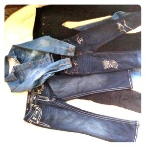 5 Juniors ripped jeans + Jean jacket size 14